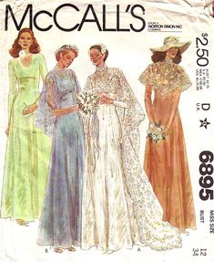 wedding dress pattern - McCalls 6895 - wedding dress with cape train & bridesmaids or evening dress - bust - uncut - ff 1970s Wedding Dress, Unique Wedding Gowns, Bridal Gowns, Wedding Dresses, Formal Wedding, Lace Wedding, Vintage Outfits, Vintage Dresses, 70s Mode