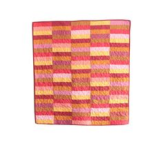 Pink, Orange, and Yellow Baby Girl Quilt, Nursery Quilt, or Crib Quilt  - Modern Patchwork, Sets of Stripes - Baby Bedding