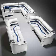 Gray, Blue & Charcoal Pontoon Boat Seats