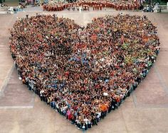 a heart made of people