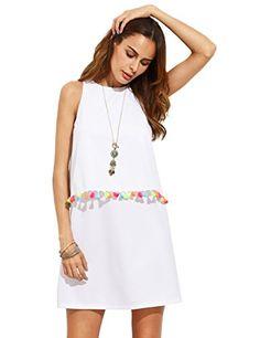 f4fa1157598f SHEIN Womens Boho Dresses Summer New Arrival Women Clothing Ladies White  Tassel Trim Round Neck Sleeveless A-line Tank Dress
