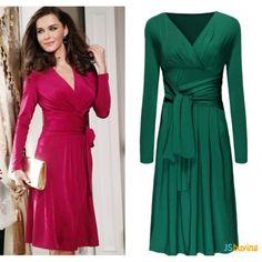 Natural Vintage Style Knee-Length V-Neck Long Sleeve Casual Dress - 2 Vestidos Vintage, Vintage Dresses, Cheap Dresses, Nice Dresses, Women's Dresses, Long Dresses, Casual Dresses Plus Size, Big Size Dress, Vestido Casual