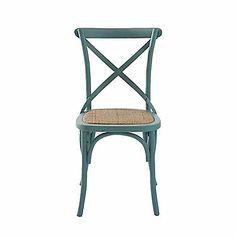 Xena Chaise en bouleau massif et rotin turquoise