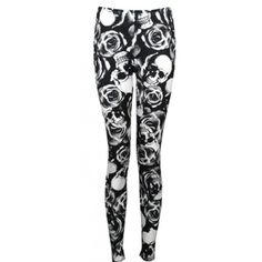 Womens Plus Skull Rose Print Stretch Leggings ❤ liked on Polyvore featuring pants, leggings, plus size trousers, plus size pants, stretchy leggings, legging pants and stretch leggings
