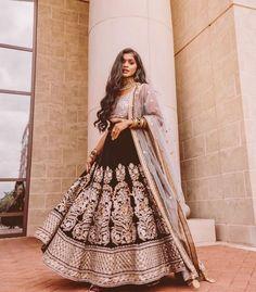 Beautiful black silver reception lehenga. Click on picture to see budget lehenga price. #Frugal2Fab Indian Fashion Dresses, Indian Designer Outfits, Pakistani Dresses, Indian Outfits, Indian Clothes, South Indian Sarees, Indian Lehenga, Wedding Lehenga Designs, Saree Wedding