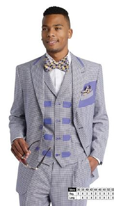 Suit For men,EJ Samuel Lavender Mini Check 3 Piece Fashion Suit M2676 For Men at Amazon Men's Clothing store: