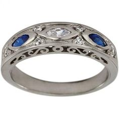 Antique Diamond And Sapphire Wedding Band by Dacarli on Etsy