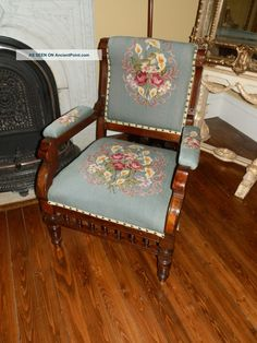 Amazing One Of A Kind Antique Victorian Needlepoint Parlour Chair 1800-1899 photo