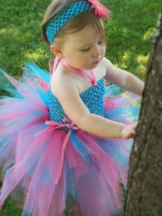 Baby TuTu Dress Turquoise Blue Pink first birthday by leeleeandjj on Wanelo