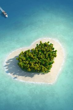 Heart Shaped Tropical Island iPhone 6 Plus HD Wallpaper