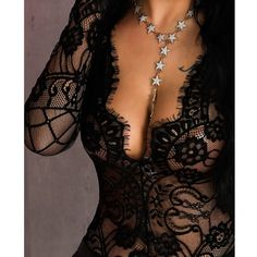 NEW Women's Fashion Sexy Low Cut Lace Patchwork Bodysuit Casual Long Sleeve Black Lace Underwear Set Triangle Briefs Slim Jumpsuit Trend Fashion, Womens Fashion, Corset Costumes, Bustiers, Long Sleeve Bodysuit, Women Lingerie, Clothes For Women, Women's Clothing, Bodysuits
