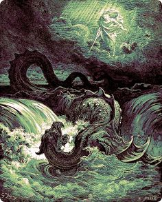 """Leviathan - a biblical sea monster reffered to in the old testament, depicted here in this 1865 engraving by Gustave Dore entitled """"Destruction of Leviathan. Art And Illustration, Gravure Illustration, Art Illustrations, Gustave Dore, Sea Serpent, Arte Obscura, Sea Monsters, Wood Engraving, Vincent Van Gogh"""