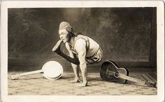 musical contortionist, ca. 1910