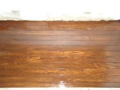 Reclaimed vintage red oak flooring, restained and polyurethaned, and installed in a closet.