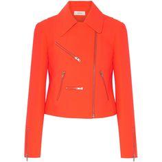 A.L.C. Ekberg neon crepe biker jacket ($380) ❤ liked on Polyvore featuring outerwear, jackets, bright orange, slim fit motorcycle jacket, slim biker jacket, red jacket, slim fit biker jacket and red biker jacket