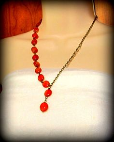 CLEARANCE-Necklace  Asymmetrical Red Carnelian by byBrendaElaine
