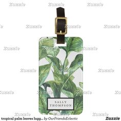 tropical palm leaves luggage tag label