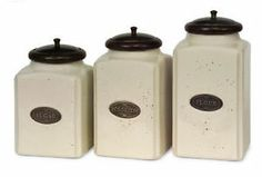 FRENCH COUNTRY S/3 CANISTER SET Ceramic Kitchen Speckled Off White