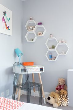 """Nursery No More! An 8-Year-Old's Bedroom Upgrade - """"This space needed to go from toy corner to study corner, without losing too many stuffed animals in the process. I instantly thought of using this great round corner desk from <a href=""""LIhttp://www.landofnod.com/30-circular-dot-desk/s203640NK"""" target=""""_blank"""">Land of Nod</a>. It takes up very little space and the smoke colored plastic chair keeps the corner from feeling visually cramped."""" - @Homepolish New York City"""