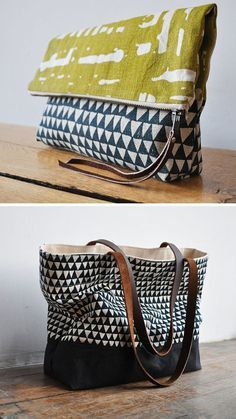 Tote Bag and Clutch with great prints Sacs Tote Bags, Clutch Bags, Diy Tote Bag, Diy Sac, Diy Bags Purses, Fabric Bags, Handmade Bags, Beautiful Bags, My Bags