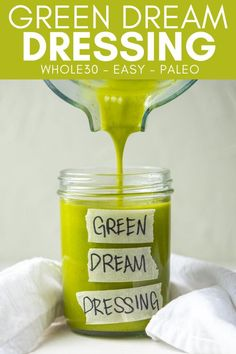 This Green Dream Dressing is a lemon herb vinaigrette. It is easy to make, loaded with flavor, and is the perfect dressing for any salad. Low Carb Lunch, Lunch Meal Prep, Summer Salad Recipes, Summer Salads, Chicken Fritters Recipe, Olive Oil Store, Salad Places, Recipe Generator, Lemon Herb
