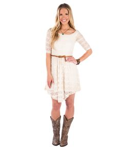Mason & Belle Hanky Hem Lace Dress - Natural