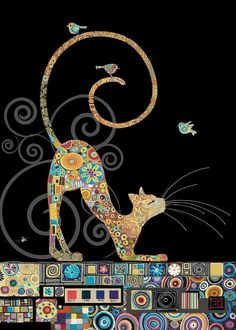 Bug Art – Cat with Birds – designed by Jane Crowther – Cat Supplies Bug Art, Cat Quilt, Gustav Klimt, Klimt Art, Cat Drawing, Fabric Art, Crazy Cats, Folk Art, Cat Lovers