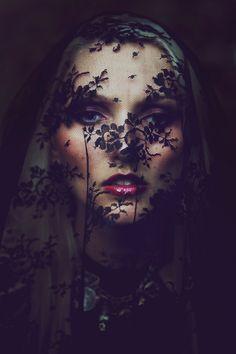 dark, veil, delicate, hidden, red lips, flowers,natural design