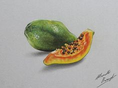 papaya by marcellobarenghi - Colored Pencils Drawing by Marcello Barenghi  <3 <3