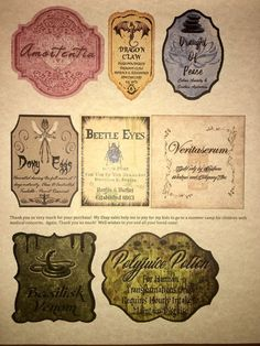 picture relating to Harry Potter Apothecary Labels Free Printable named 108 Least difficult Harry Potter Apothecary Potion Labels Bottles