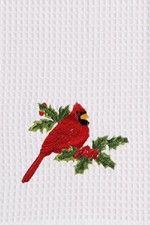 "Red Cardinal Bird Holly Leaf Christmas Waffle Kitchen Towel 18"" x 27"""
