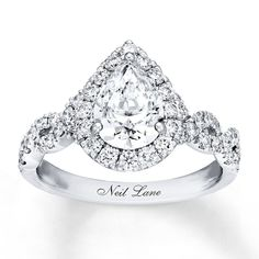 Previously Owned - Neil Lane Bridal® Collection CT. Pear-Shaped Diamond Engagement Ring in White Gold Neil Lane Diamond Rings, Neil Lane Rings, Diamond Wedding Rings, Diamond Engagement Rings, Teardrop Engagement Rings, Teardrop Ring, Halo Engagement, Elegant Engagement Rings, Engagement Ring Shapes