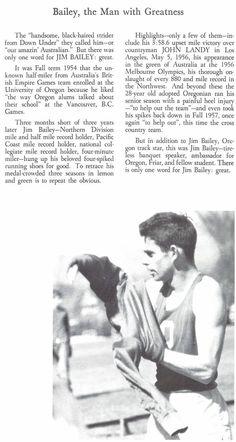 Recap of the stellar running career of Oregon track athlete Jim Bailey 1958. From the 1958 Oregana (University of Oregon yearbook). www.CampusAttic.com