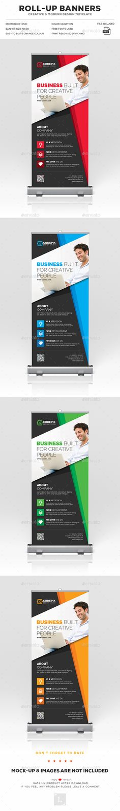 Corporate RollUp Banner — Photoshop PSD #simple #shoot • Available here → https://graphicriver.net/item/corporate-rollup-banner/18047059?ref=pxcr