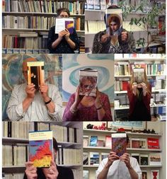 The Carcanet team modelling their favourite poetry books!
