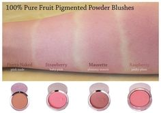 100% Pure Fruit Pigmented Powder Blushes. #swatch #swatches Organic Makeup, Natural Makeup, Natural Beauty, Blush Makeup, Beauty Makeup, Non Toxic Makeup, Pigment Powder, Art Of Beauty, Vegan Makeup