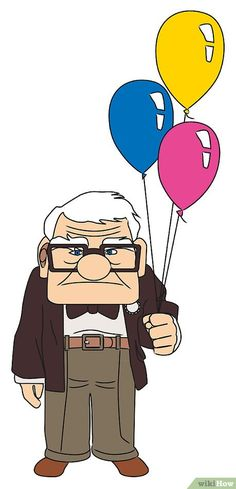 How to Draw Carl from Up. The movie Up is about an elderly man named Carl Fredricksen who embarks on a grand adventure after his wife passes away. With the help of a wacky supporting crew (a young boy scout, a talking dog, and a large. Disney Drawings Sketches, Cute Cartoon Drawings, Cartoon Up, Disney Character Drawings, Cartoon Illustrations, Disney Collage, Disney Art, Up House Drawing, Easy Cartoon Characters