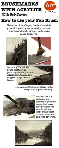 Not a fan of your fan brush? Here are a few tips to making the most of it. Taken from Bob Davies' Acrylic Painting Foundation Course Acrylic Painting Techniques, Painting Lessons, Art Techniques, Painting & Drawing, Watercolor Paintings, Art Et Architecture, Acrylic Art, Acrylic Tips, You Draw