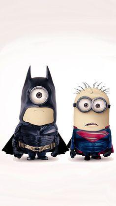 バットマンとスーパーマンなミニオンのイラスト