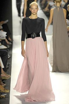 Fitted top, flowing skirt. Reminds me of Grace Kelly