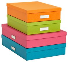 Bright Stockholm Office Storage Boxes - What happy colors the container Store has! The Bigso™ Stockholm Letter Box Orange in and Green x x h, and the Bigso™ Stockholm Document Box in Blue, Pink, Orange and Green measure x x h Paper Storage, Paper Organization, Office Organization, Storage Boxes, Organization Ideas, Organizing Paperwork, Art Storage, Organizing Life, Photo Storage