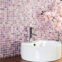 PANTONE Color of the Year 2014 - Radiant Orchid decor - gorgeous tiles, want these in my bathroom! Mosaic Bathroom, Bath Tiles, Bathroom Wall, Purple Bathrooms, Glass Tile Backsplash, Color Of The Year, Orchids, Pantone Color, Bath Detox
