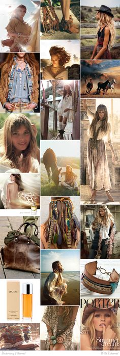 Wild Ethereal moodboard. One of 18 beauty types created by GretaKredka. Boho, ethnic and eclectic style, natural fabrics (suede, leather, cotton, linen, wool), fringe, cowboy boots and hats, lacing, natural jewelry, paisley, aztec prints, low-contrast. Color essence: Soft Autumn.