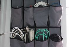 Use a shoe holder to organize charging cables for small accessories.