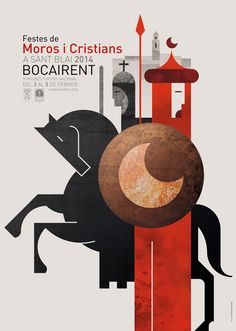 Fiestas Moors and Christians in Bocairent Creative Poster Design, Graphic Design Posters, Graphic Design Illustration, Illustration Art, Festival Medieval, Abstract Geometric Art, Design Graphique, Festival Posters, Illustrations And Posters