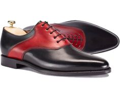 Handmade Oxford Leather Shoes Two Tone Fashion Maroon Black Stylish Formal Shoes #Handmade #Oxfords #Formal