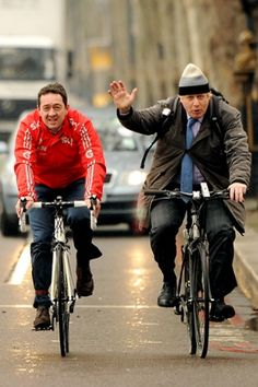 Mayor Boris Johnson and former Olympic cyclist Chris Boardman arrive for a press conference on Victoria Embankment to launch