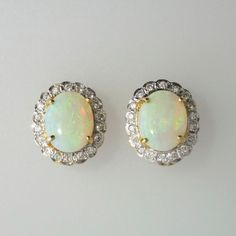 Stunning Vintage Opal & Diamond Halo Earrings 18k | Antique And Estate Jewelry | Jewelry Finds