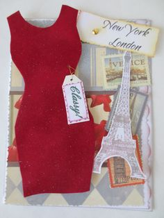 Card - Handmade Fashion Card - Diva Red Dress Greeting Card - Blank Card - Happy Birthday Card