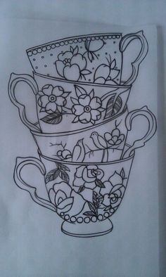 Tea cups, I want something like this but more elaborate & some other things added to it. Lovely :}